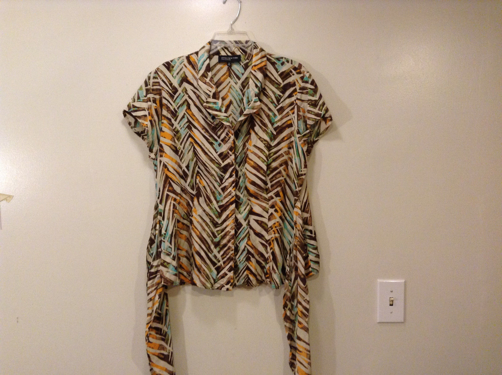 Jones New York Women's Size 16 Silk Blend Shirt Multi Color Paint Print w/ Sash