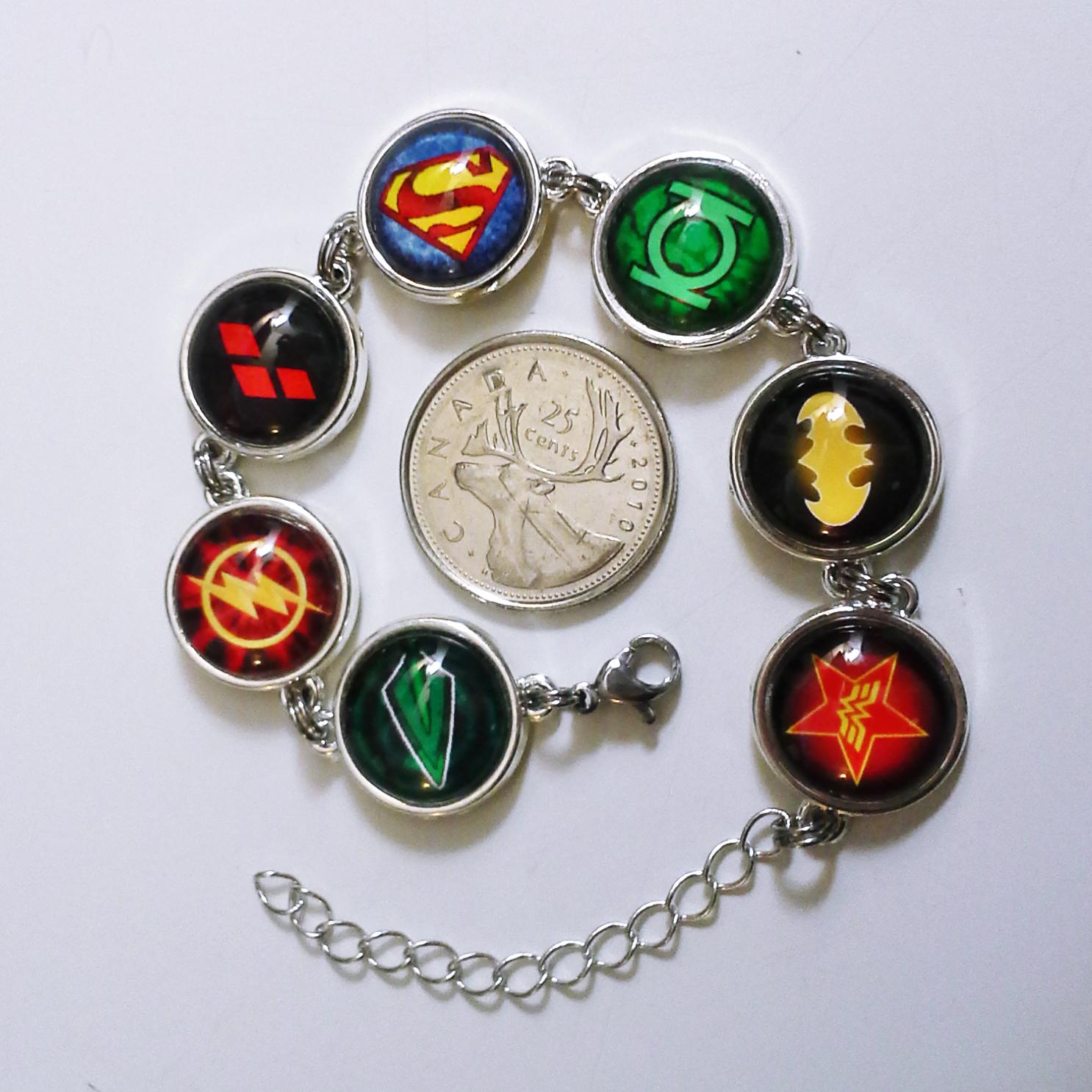 DC Comics Silver Bracelet - Batman, Flash, Arrow, Superman, Green Lantern, WW