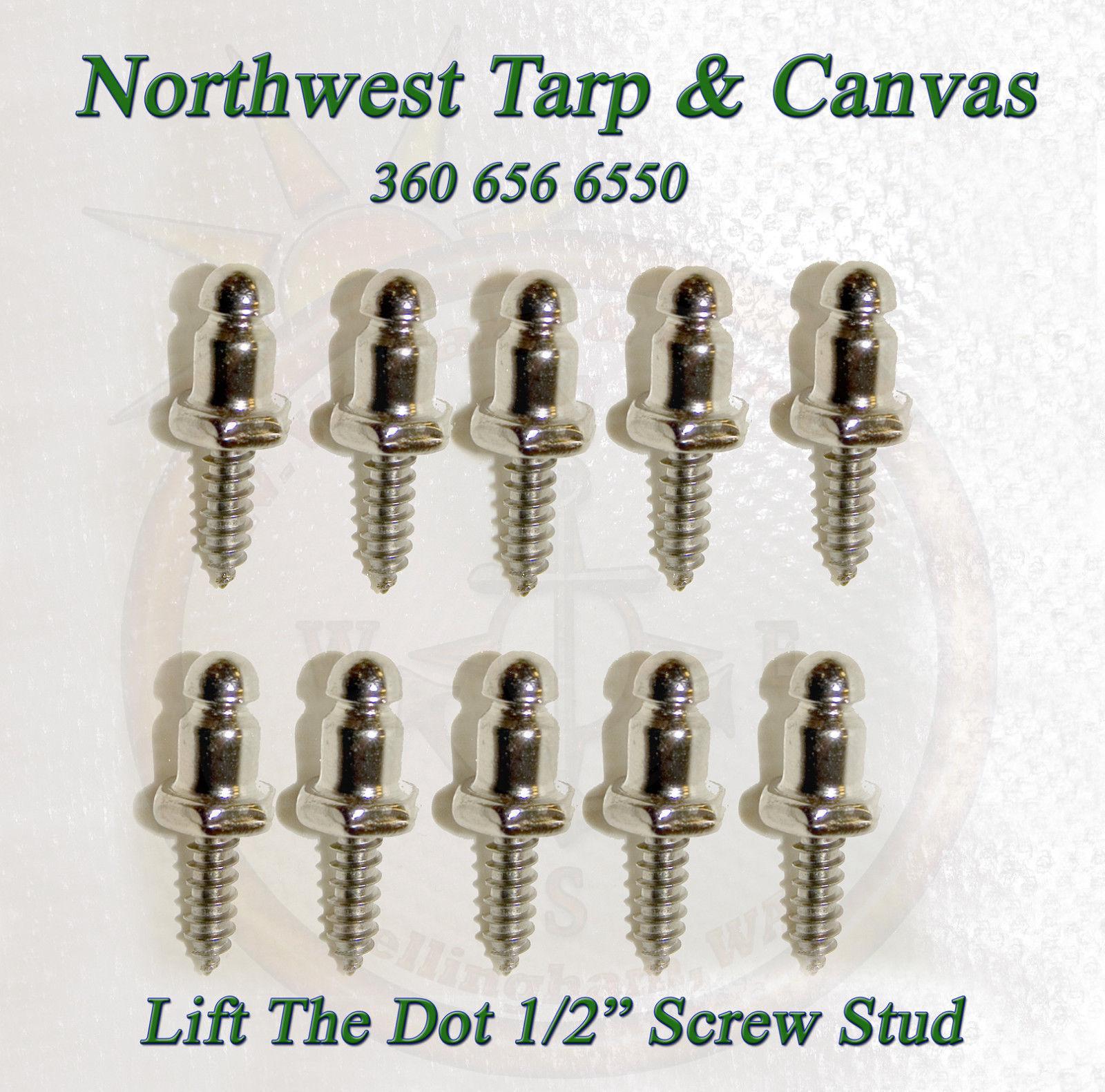"Backing Plate /& 1//2/"" Screw Stud 100 sets Lift The Dot Fasteners Kit S.S Socket"