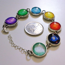 Final Fantasy 7 FF7 VII Cloud Materia Silver Metal Bracelet with Glass S... - $38.00