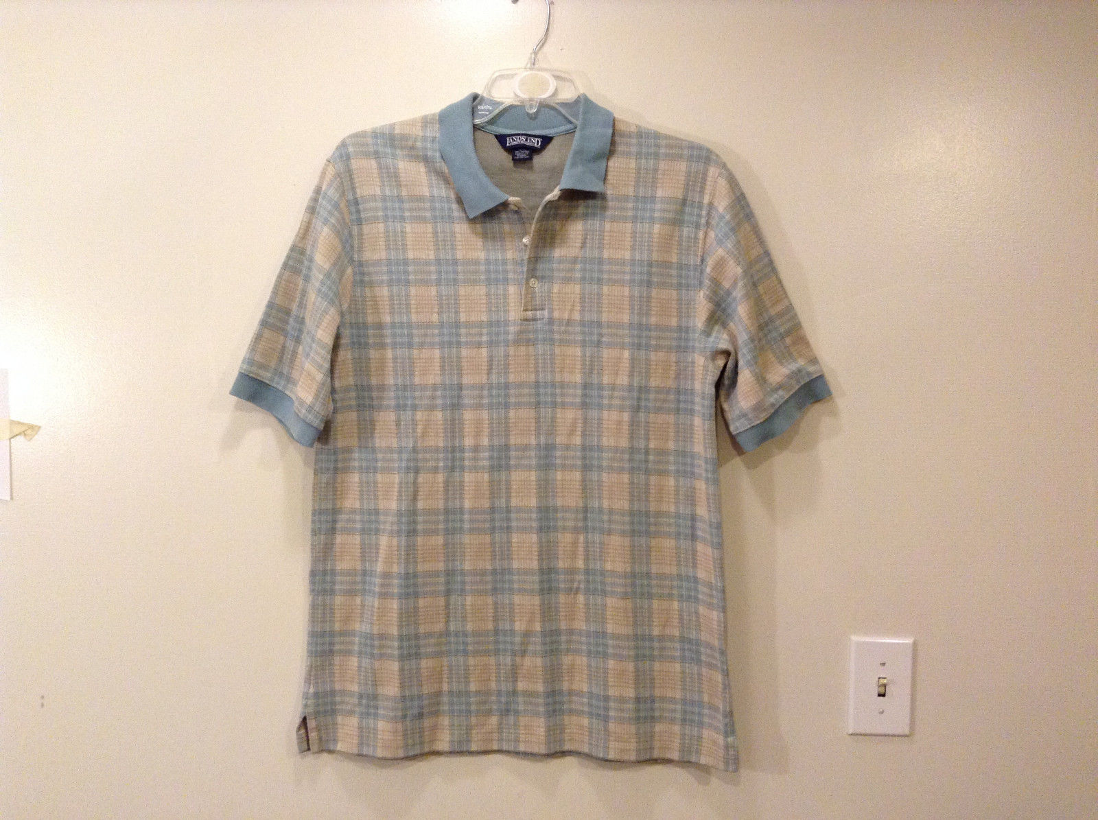 Lands' End Men's Size L 42 44 Polo Shirt Plaid Beige & Dusty Blue Short Sleeves