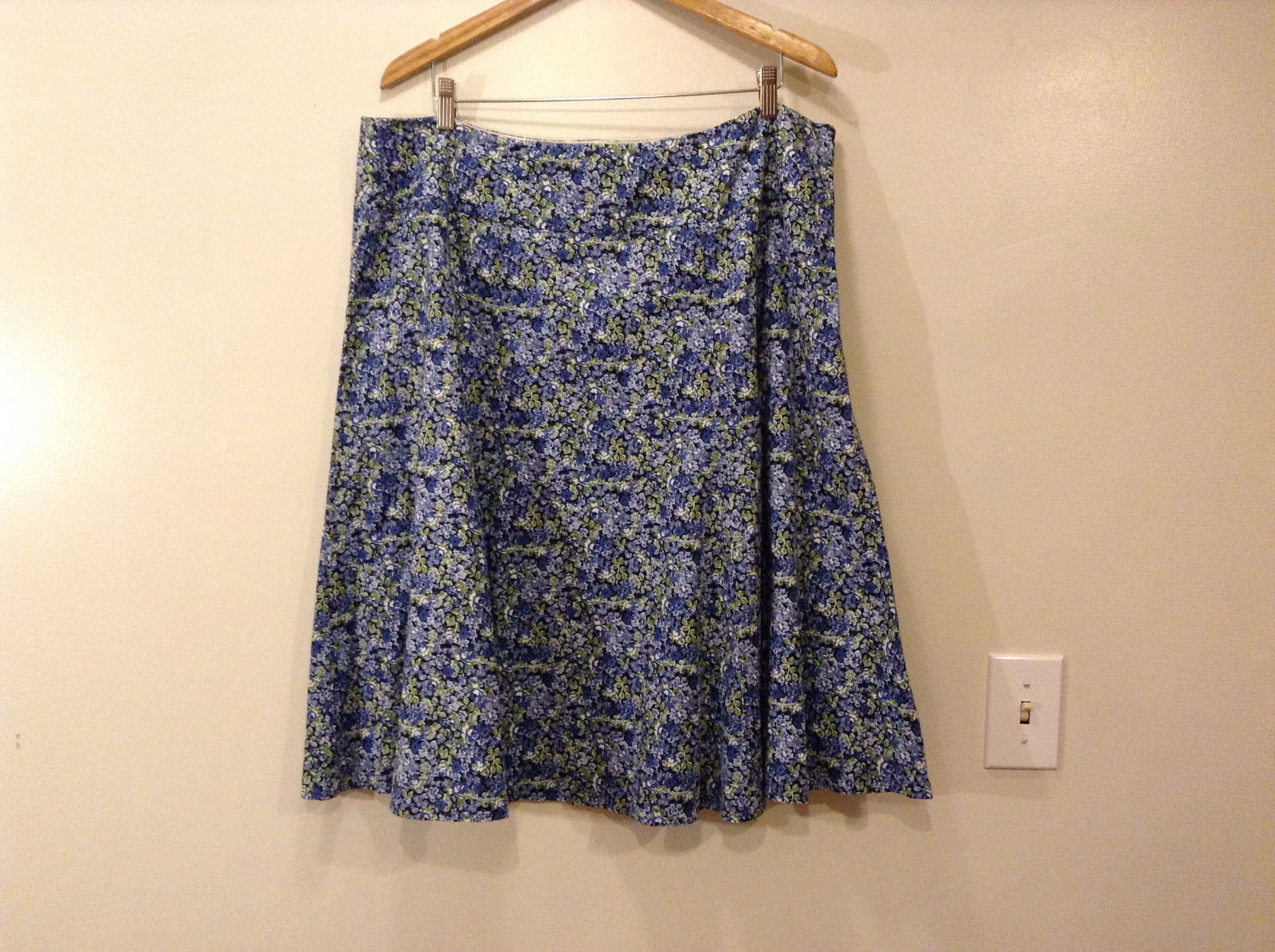 """Context Women's Size 18W """"A-Line"""" Circle Skirt Ditsy Floral Print w/ Blue Green"""