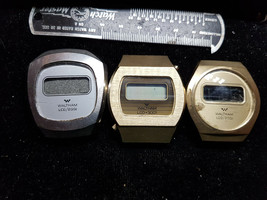Waltham Lcd Lot Of 3 Vintage 1970'S Back Set Watch For Repair Or Parts 2001 3001 - $91.92