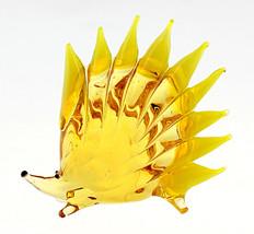 Murano Style Art Glass Hedgehog Figurine Yellow - $15.84