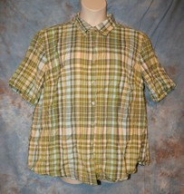 Womens Green Plaid New Direction Short Sleeve Shirt Size 2X excellent - $6.92
