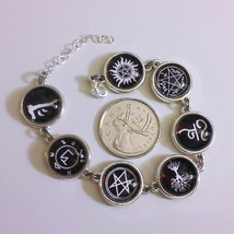 Supernatural Winchester Silver Metal Bracelet - Protection Symbols, Mark... - $38.00