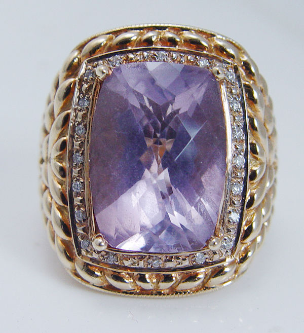 Vintage 14k yellow gold large amethyst diamonds cocktail for Cocktail 3g