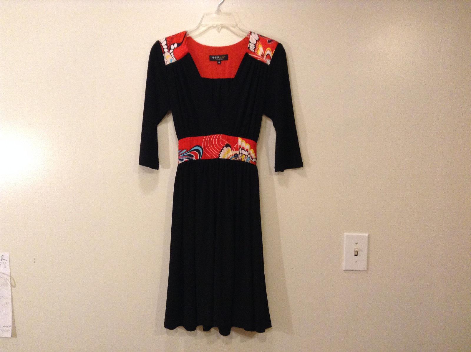 ABS by Allen Schwartz Women's Size S Black Dress Red Abstract Pattern Silk Trim