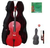 Lucky Gifts 3/4 Size RED Cello with Hard Case,Soft Bag,Bow,2 Sets of Strings