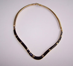 Black Enamel Choker Necklace, Signed, Trifari, Hinged Necklace, Gift Ide... - $15.00