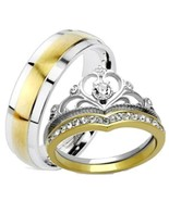 His Hers 3 Piece Yellow Gold IP Crown Stainless Steel Wedding Ring Set - $39.99