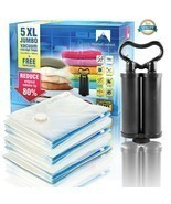 Vacuum Storage Bags 5 Pack Travel Hand Pump Spa... - $24.74