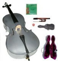Lucky Gifts 4/4 Size SILVER Cello with Hard Case,Soft Bag,Bow,2 Sets of ... - $389.99