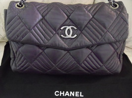 Authentic Rare Chanel Aubergine Lambskin In & Out Maxi Flap Handbag - $2,900.00
