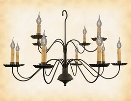 """2 Tier 12 Arm Colonial Chandelier """"Monticello"""" Handcrafted Country Candle Light - $534.05"""