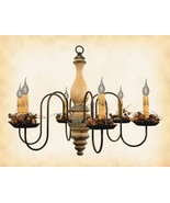 """""""Anderson"""" WOOD CHANDELIER - BUTTERMILK 6 Candle Country Light Handmade ... - $382.15"""
