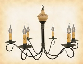 WOOD & METAL CHANDELIER Buttermilk w/ Red 6 Candle Colonial Country Ligh... - £262.01 GBP