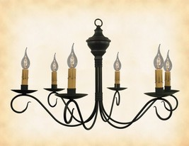 """Wood & Metal Chandelier Black W/ Red 6 Candle """"Washington"""" Country Light Usa - $338.05"""