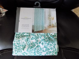 THRESHOLD SHOWER CURTAIN GREEN BOTANICAL FLORAL 72 X 72 NEW LAST ONE  - $31.99