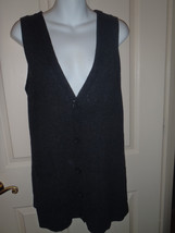 CAbi Charcoal Gray V Neck Boyfriend Sweater Vest Cardigan MEDIUM 152 Woo... - $32.50