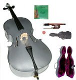 Lucky Gifts 1/4 Size SILVER Cello with Hard Case,Soft Bag,Bow,2 Sets of Strings