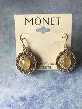 "Monet Semi Precious Accents Goldtone Pierced Earrings 1 1/2"" NEW - $6.99"