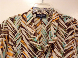 Jones New York Women's Size 16 Silk Blend Shirt Multi Color Paint Print w/ Sash image 3