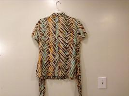Jones New York Women's Size 16 Silk Blend Shirt Multi Color Paint Print w/ Sash image 2