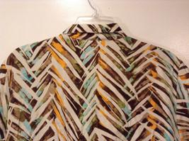 Jones New York Women's Size 16 Silk Blend Shirt Multi Color Paint Print w/ Sash image 7