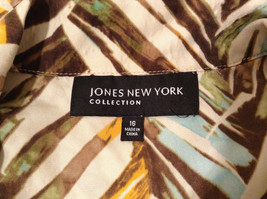 Jones New York Women's Size 16 Silk Blend Shirt Multi Color Paint Print w/ Sash image 10