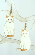 Charming Cloisonne Enamel Sitting White Cat Earrings 1970s vintage - $14.80