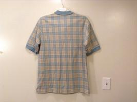 Lands' End Men's Size L 42 44 Polo Shirt Plaid Beige & Dusty Blue Short Sleeves image 2