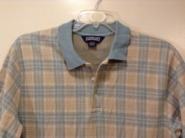 Lands' End Men's Size L 42 44 Polo Shirt Plaid Beige & Dusty Blue Short Sleeves image 3