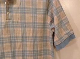 Lands' End Men's Size L 42 44 Polo Shirt Plaid Beige & Dusty Blue Short Sleeves image 4