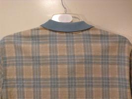 Lands' End Men's Size L 42 44 Polo Shirt Plaid Beige & Dusty Blue Short Sleeves image 6