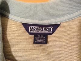 Lands' End Men's Size L 42 44 Polo Shirt Plaid Beige & Dusty Blue Short Sleeves image 8
