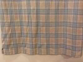 Lands' End Men's Size L 42 44 Polo Shirt Plaid Beige & Dusty Blue Short Sleeves image 7