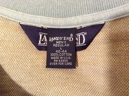 Lands' End Men's Size L 42 44 Polo Shirt Plaid Beige & Dusty Blue Short Sleeves image 9