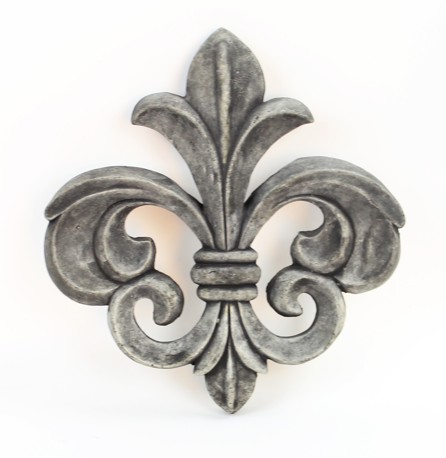 Fleur de Lis Concrete Wall Plaque Ornament