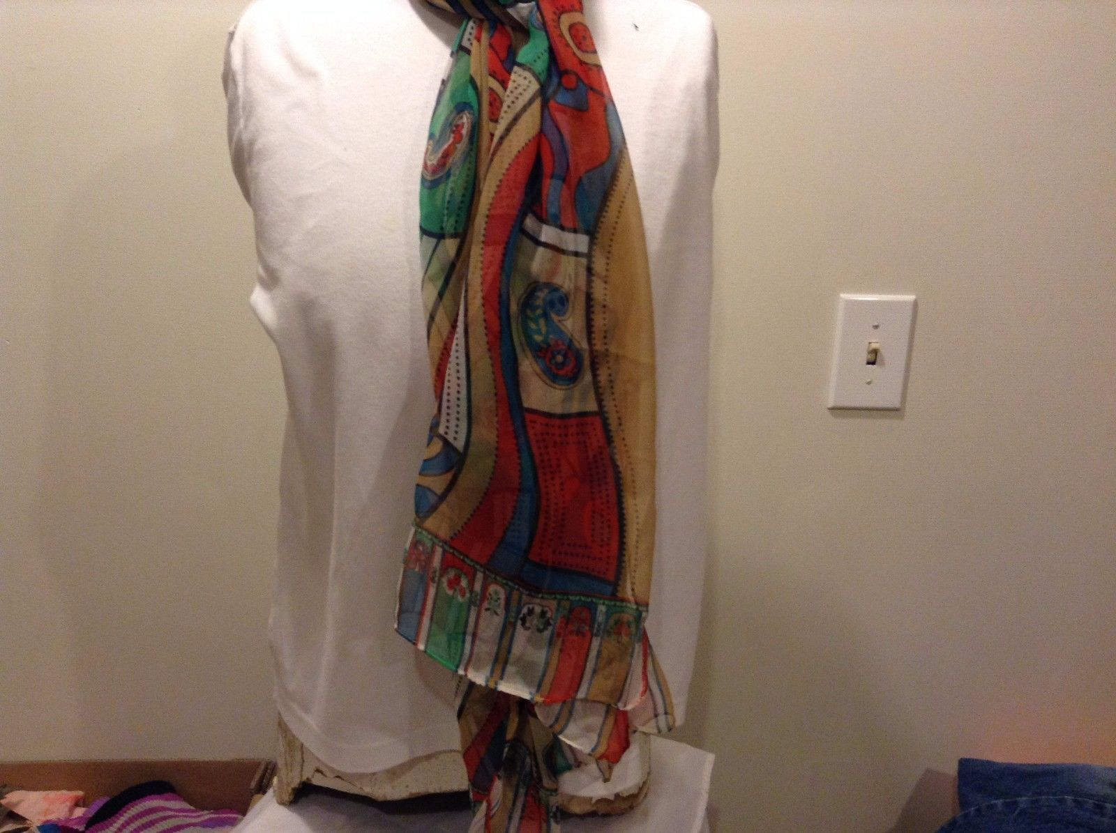 Tan Green Red Blue White Black Stripes Circles Flowers Trim Scarf 100% Polyester