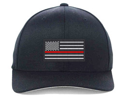 USA Flag Red Line, Local Fire Department Support Embroidered, Flexfit Hats - $19.99