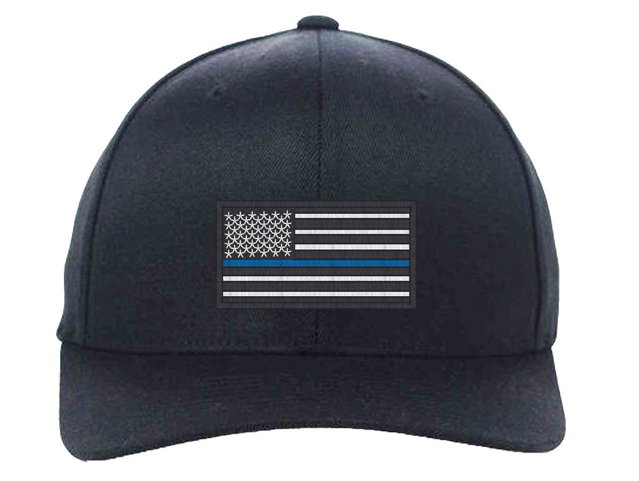 USA Flag Blue Line, Local Police Department Support Embroidered, Flexfit Hats