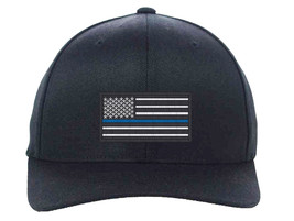USA Flag Blue Line, Local Police Department Support Embroidered, Flexfit... - $19.99