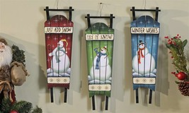 Set of 3 - 21 inch Hanging Antique Look Painted Wood Christmas Sleigh Wall Decor