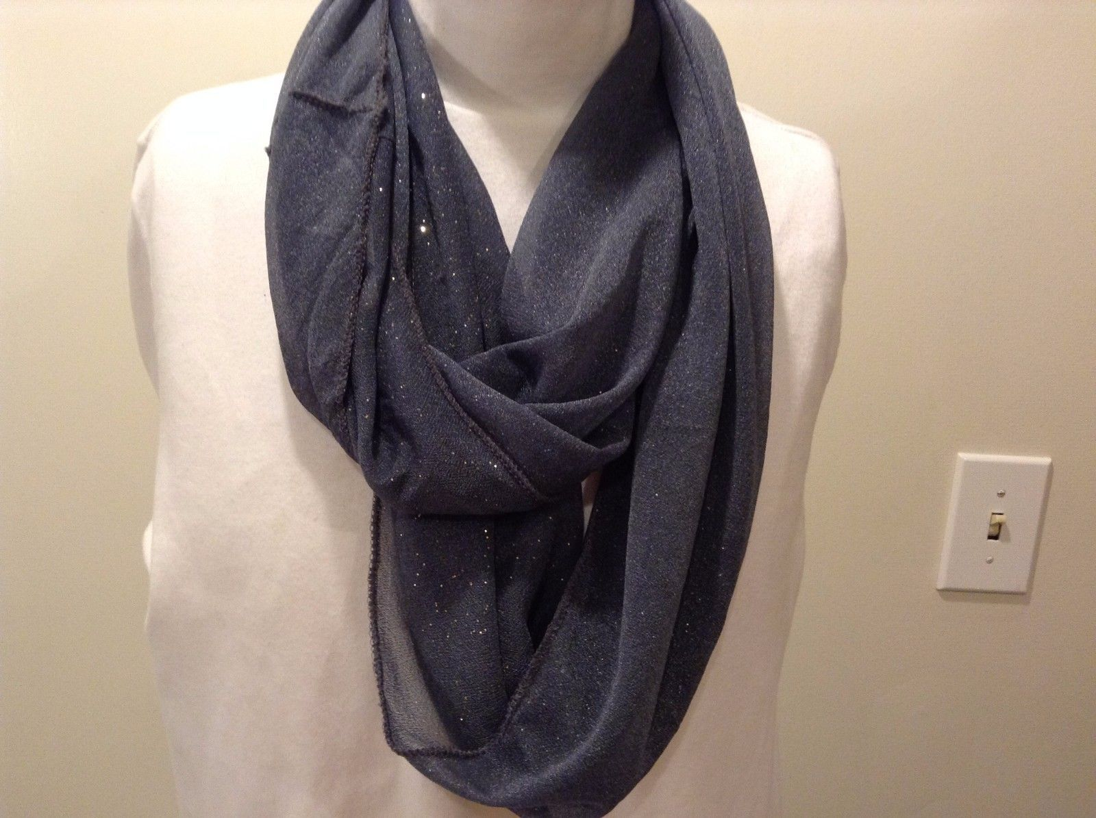 Howard's 100% Polyester Gray Sparkled Infinity Scarf
