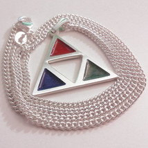 Legend of Zelda colored Triforce Enamel Sterling Silver Necklace Pendant  - $52.00