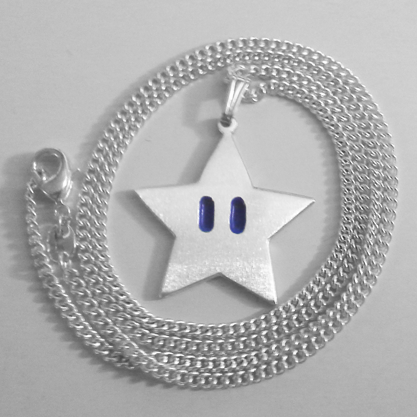 Mario Star Sterling Silver Necklace Pendant Video Game Jewelry Invincibility