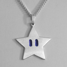 Mario Star Sterling Silver Necklace Pendant Video Game Jewelry Invincibi... - $52.00