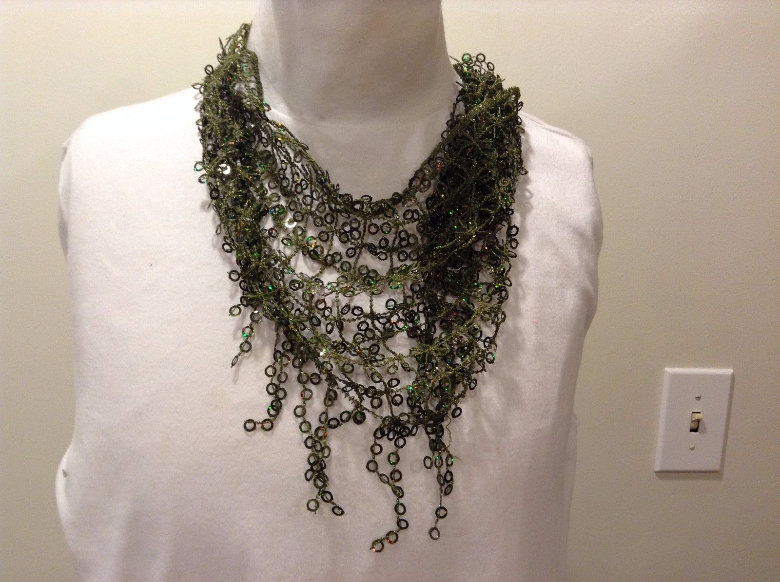 Howard's Green Loose Knit Sequin Triangle Scarf