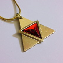 Legend of Zelda Triforce of Power Ocarina of Time Brass Necklace Pendant... - $49.00
